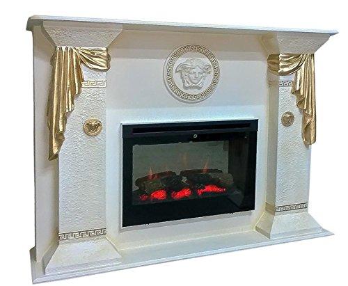 Antikes Wohndesign Kamin Kamine mit Fernbedienung Elektrokamin Elektrokamine Versa Serie (Weiß-Gold)