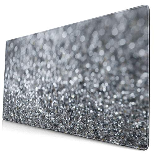 Silver Glitter Design Pattern XXL XL Large Gaming Mouse Pad Mat Long Extended Mousepad Desk Pad Non-Slip Rubber Mice Pads Stitched Edges (29.5x15.7x0.12 Inch)
