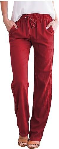 Wide Leg Pants for Women Casual Summer Elastic Waist Capris Casual Crop Cotton Linen Pull On Pants