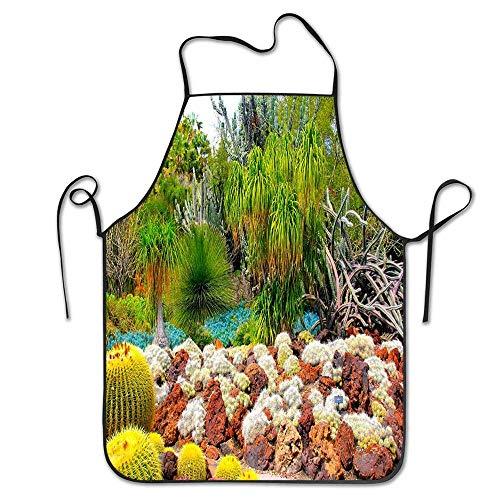 Jardins USA Cactus Botanical San Marino California Tablier de cuisine - Sangle réglable - Tablier drôle pour hommes et femmes - Parfait pour le barbecue, le gril, la pâtisserie, la cuisine