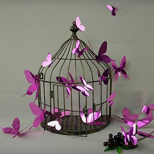 Ambiance-Live Kit de Stickers 12 3D papillons violet miroirs, Vinyle