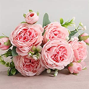 TRRT Fake Plants Artificial Silk Flowers Gardenia Bouquet, Wedding Party Home Garden Garden Hotel Living Room DIY Decoration Fake Flower (Color : Light Pink)