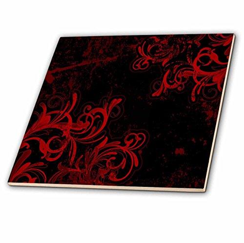 Preisvergleich Produktbild 3dRose CT 78095 _ 3 Zwei Ecke Blüht in rot gegen einen schwarzen Hintergrund Keramik Fliesen,  20, 3 cm