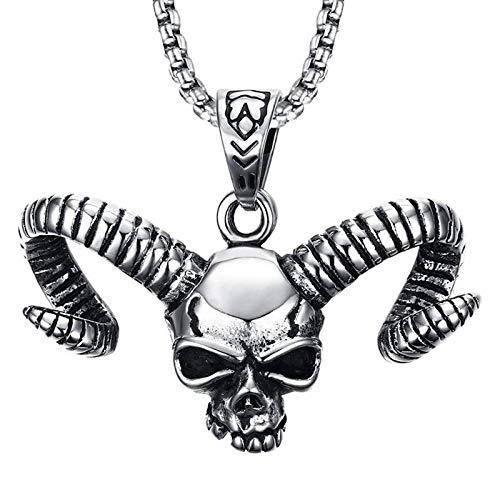 N / A Collar Gótico Collar con Colgante De Esqueleto De Calavera De Cuerno Largo De Acero Inoxidable, Joyería Punk para Hombres, Cadena De Suéter