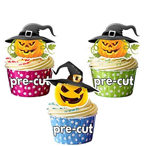 PRE-CUT Halloween Heksen Hoed Pompoenen - Eetbare Cupcake Toppers/Taart Decoraties (Pak van 12)