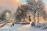 Pintura por números pintura al óleo de bricolaje kit de pintura de decoración del hogar para principiantes lienzo de lino preimpreso (sin marco) -Pintura de pueblo en invierno