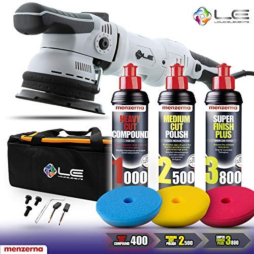 Shiny Freaks Liquid Elements T2500 Exzenter Poliermaschine + ADBL Polierpads 125mm + Menzerna Polituren Auto Polier Set