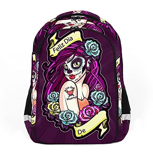 Deads Day Catrina - Figuras femeninas pintadas con ilustración perfecta para la escuela y las mochilas de viaje, mochilas de estudiantes perfectas para todas las edades
