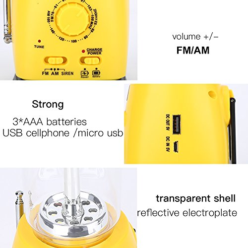 Emergency Camping Lantern, Hand Crank Solar Camping Lantern LED Rechargeable Multi-functional Camp Lantern Survival Kit for Hike Climbing, Hurricane, Power Outage
