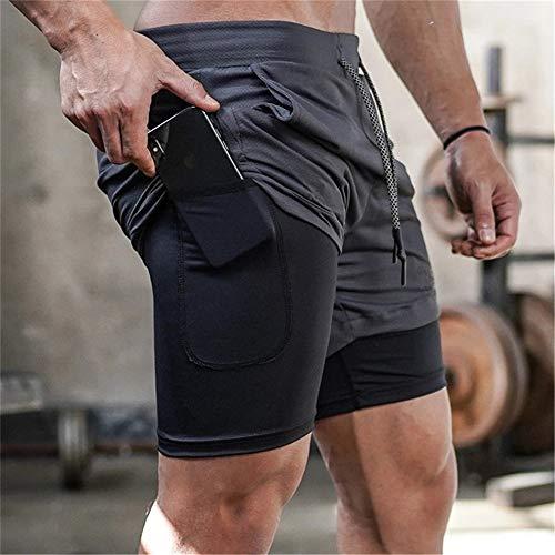 Match Short esportivo masculino, 2 em 1, com bolso embutido, orifício para pendurar toalha, estampa de camuflagem, para academia, corrida, Cinza, XL