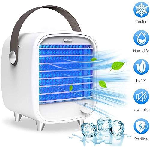 BIGMALL Refrigerador De Aire Personal Mini Refrigerador Portátil Pequeño Ventilador De Aire Acondicionado Spray De Enfriamiento Y Humidificación Mini Ventilador De Luz LED para Oficina En Casa