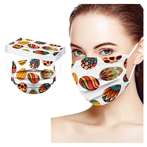 10/50 Stück Einmal-Mundschutz, Staubschutz Atmungsaktive Ostern Drucken Mundbedeckung, Erwachsene, Bandana Face-Mouth Cover Halstuch Schlauchschal