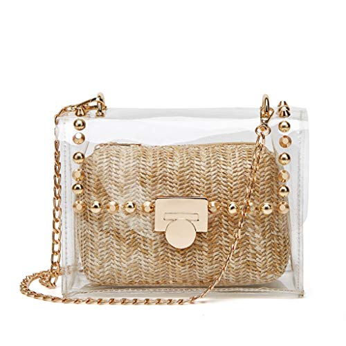 Clear Purse, 2 in 1 Transparent Shoulder Bag Set Fashion Rivet Chain Strap PVC Handbags for Women Crossbody Bag (Khaki)
