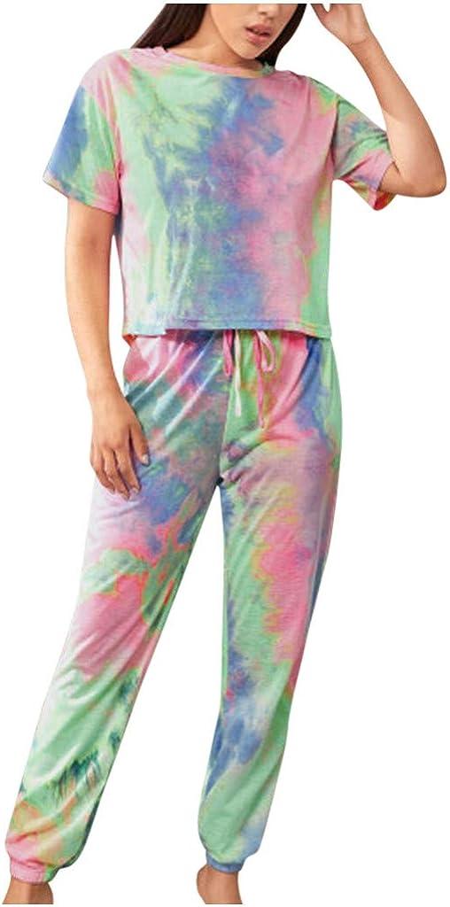 Womens Sleepwear Set,Womens Gradient Color Leisure Suit Short Sleeve Top and Long Pants PJ Set Nightwear Loungewear