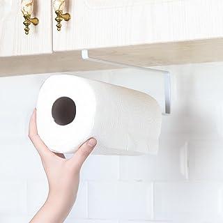 Demiawaking Kitchen Roll Holder Dispenser Under Cabinet Roll Paper Towel Holder Storage Rack Shelf