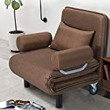 HOMHUM Convertible Sofa Bed Sleeper Chair Folding 5 Position Arm Chair Sleeper w/Pillow, Upholstered Seat, Wheel Design, Leisure Chaise Lounge Couch for Home Office (Browm)