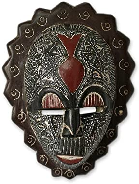 NOVICA Brown and Red Ghanaian Sese Wood Wall Mask, Happiness'