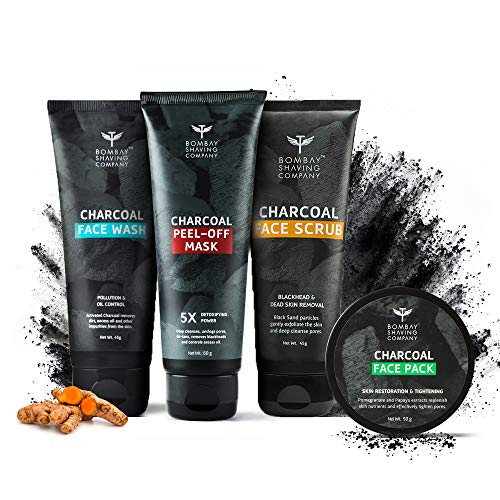Bombay Shaving Company Facial Starter Kit for Acne, Charcoal Face Wash, 45 gm, Charcoal Face Scrub, 45 gm, Charcoal Face Pack and Charcoal Peel Off Mask, 60gm