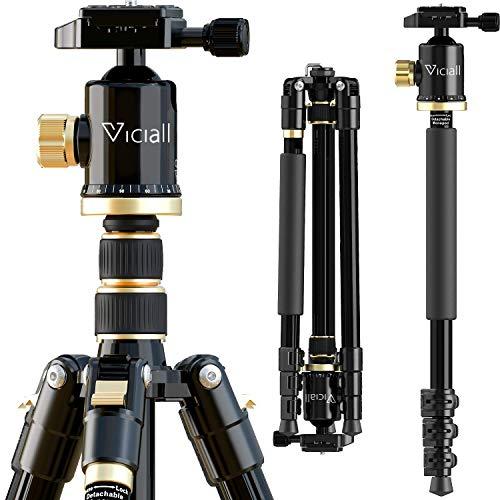 VICIALL Trípode de 77 pulgadas, trípode de cámara para DSLR, trípode compacto de aluminio con cabezal de bola de 360 grados y carga de 8 kg para teléfono, cámara Sony Canon Nikon, viajes y trabajo