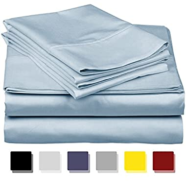 Thread Spread True Luxury 100% Egyptian Cotton - Genuine 1000 Thread Count 4 Piece Sheet Set- Color Light Blue,Size King - Fits Mattress Upto 18'' Deep Pocket