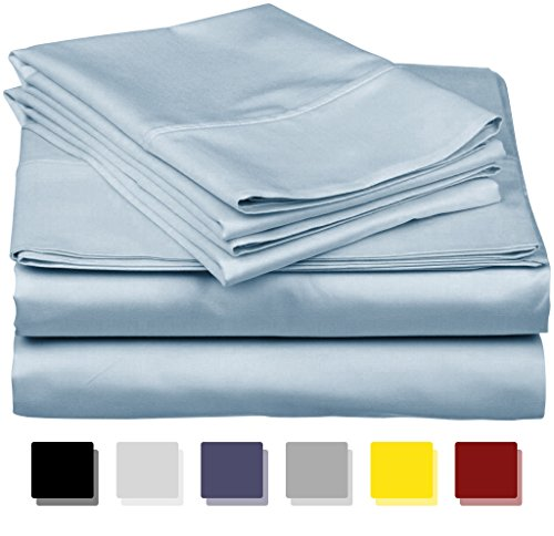 True Luxury 1000-Thread-Count 100% Egyptian Cotton Bed Sheets, 4-Pc King Light Blue Sheet Set, Single Ply Long-Staple Yarns, Sateen Weave, Fits Mattress Upto 18'' Deep Pocket