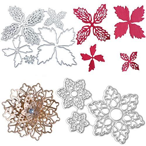 8 Piezas Troqueles de Corte de Flores de Navidad Troqueles de Corte con Diseño de Flores Troqueles Stencil Flores Troqueles para Boletos Artesanales de álbum de Papel de álbum de Recortes de Bricolaje