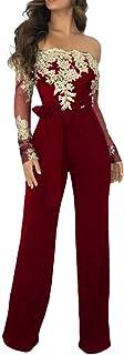 Minetom Damen Jumpsuit Schulterfrei Bogen-Bügel Gürtel Spitze Overalls Elegant Langarm Strampler Hohe Taille Lange Hosen Festlich Hochzeit Playsuit