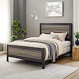 Walker Edison Rustic Farmhouse Wood Queen Metal Bed Headboard Footboard Frame Bedroom, Grey Wash