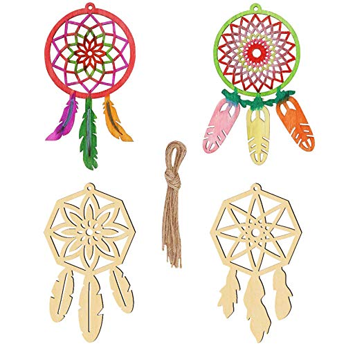 Wooden Hanging Ornaments Kits to Paint 40 PCS Wooden Dream Catchers Kit for Kids Girls, Unfinished Wood for DIY Crafts Christmas Ornaments Hanging Decorations Wood Slices Home Decor