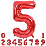 40 Inch Red Large Numbers Balloons 0-9, Number 5 Digit 5 Helium Balloons, Foil Mylar Big Number Balloons for Birthday Party Anniversary Supplies Decorations