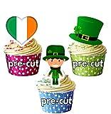 Precut St Patricks Day - Decoración comestible para tartas (12 unidades)