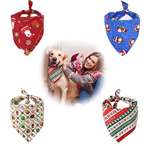 QIMMU Haustier Bandanas,Bandana für Hund,Haustier Dreieck Lätzchen, Kariertes Haustier Halstuch Hundehalstuch für kleine, mittelgroße, große Hunde und Katze 4 Stück (2)