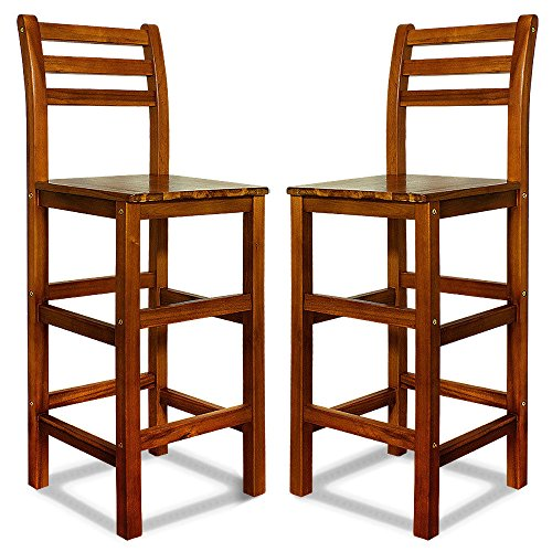 LD barkruk met rugleuning 2-delige set acaciahouten krukken barstoel bar stoel hout