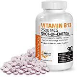Vitamin B12 2500mcg Shot of Energy Fast Dissolve Chewable Tablets - Quick Release Cherry Flavored Sublingual B12 Vitamin - Supports Nervous System, Healthy Brain Function Energy Production – 90 Count