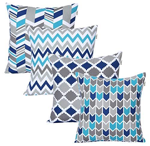 Amazon Brand - UMI Lote de 4 Cojines de Algodon Cuadrados Decorativos lujosamente Impresos, Fundas de Almohada para el hogar, Sofa, Sillon, Silla de 45x45 cm en-Turq-Blue