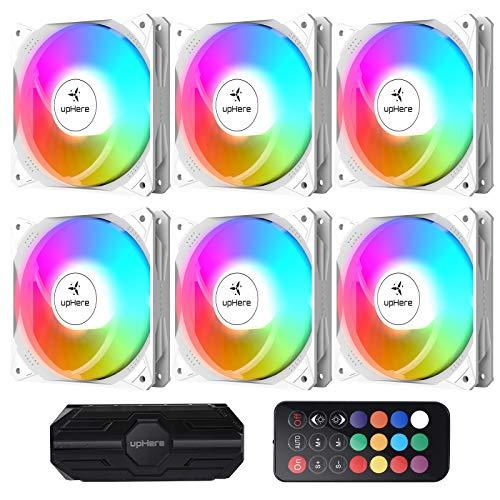 upHere PC-Lüfter, 120 mm, Fernbedienung, RGB LED, hohe Leistung, für PC-Gehäuse, ultra leise, 6 Stück (NT1206-6)