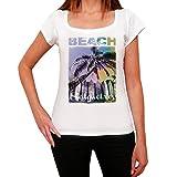 Salgueiros, Nombre de la Playa, Palma, La Camiseta de Las Mujeres, Manga Corta, Cuello Redondo, Blanco