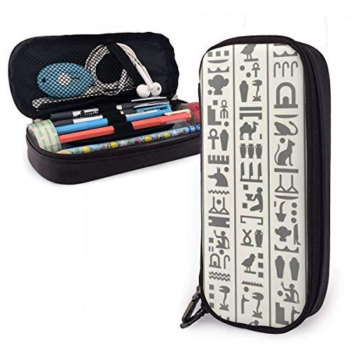 Vintage ägyptische Piktogramme Tabelle PU Leder Bleistift Fall Stift Tasche, High Capactiy Doppel Reißverschluss Stift Fall Box Make-up Tasche Münztasche