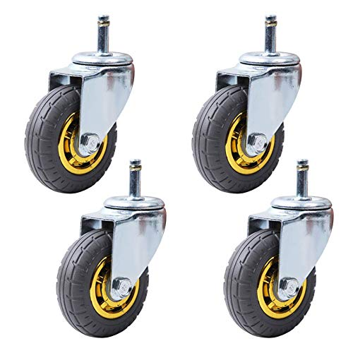 Swivel Caster Wheels, 3Inch Moving Caster Wheels Universal Heavy Duty Wheels for Furniture,Trolley Wheels with Rubber,Transport Rollers Dining Cars Replacement Wheels,Stem M11x35mm,Load 200kg,Set of 4