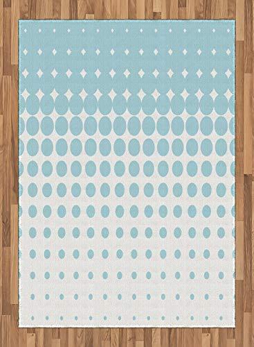 ABAKUHAUS Vintage Blue Tapijt, Vanishing Dots, vlak Geweven Vloerkleed voor Woonkamer, Slaapkamer, Eetkamer, 160 x 230 cm, Pale Blue and White