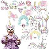 KELEOINA Babydusche Foto Props, 30 PCS Fotorequisiten Babydusche, Unicorn Lustige Babyflasche Geburtstag Requisiten DIY Kit mit Holzstäbchen, für Baby Shower Party Dekoration Zubehör