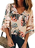 BLENCOT Women Ladies Sexy V Neck Floral Lace Panel 3/4 Bell Sleeve Tops Loose Fit Shirts Blouses Apricot M