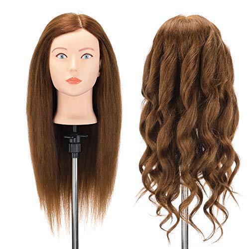 Cabeza de maniquí 90% Cabeza Maniqui Peluqueria Pelo Natural Neverland 56cm Cabezal de peluquería Cosmetología Maniquí Muñecas Cabeza de Muñecas para el corte de pelo de la práctica