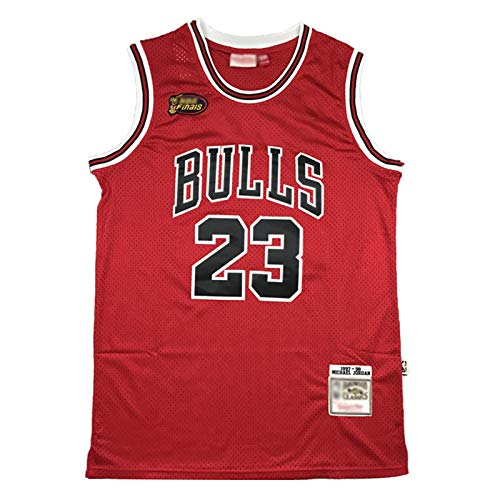 Jordan 98 Finale Logo Basketball Trikot, 23 Bulls Klassische Basketballuniform, Unisex Retro Stickerei Bequemes Sweatshirt (S-2XL)-L