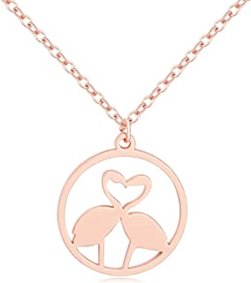 NOUMANDA Fashion Couple Loving Flamingo Bird Necklace Charm Hollow Circle Pendant Jewelry