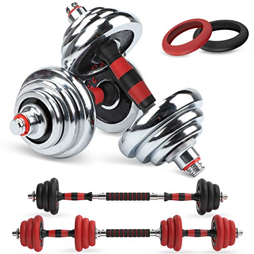 LEADNOVO Adjustable Weights Dumbbells Barbell Set 44Lbs/20KG 3in1 Cast Iron Free Weights Dumbbells Set with Connecting Rod for Home Gym Office Exercise Training