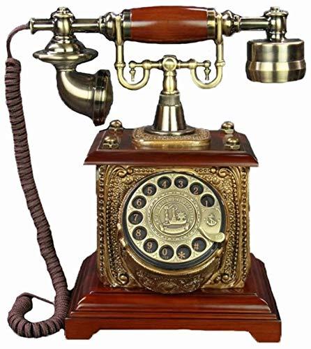CHENXU Oficina Teléfono Fijo Moda con Cable Teléfono Retro Escritorio Teléfono Dial Rotary Teléfono Red Marrón Resina Material Dormitorio Detalle Decoración Maravilloso Regalo
