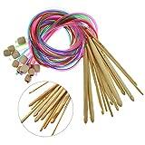Ganchillo de Bambú,Liwein 12 Piezas Agujas Ganchillos Crochet de Bambú Aguja de Crochet Tunecino Tejer Ganchos kit para Ropa de Bebé Encaje Tapetes Alfombra Tejido(3.0-10.0mm)