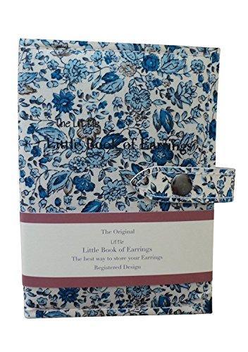 Book of Earrings - Porta-orecchini a forma di libretto, un piccolo contenitore per tenere i tuoi orecchini al sicuro, rivestimento con motivo floreale blu