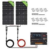 ECO-WORTHY Kit de panel solar de 200 W: 2 paneles solares de 100 W + driver de carga LCD de 20 A PWM + soportes en Z para barcos de caravana off-gird